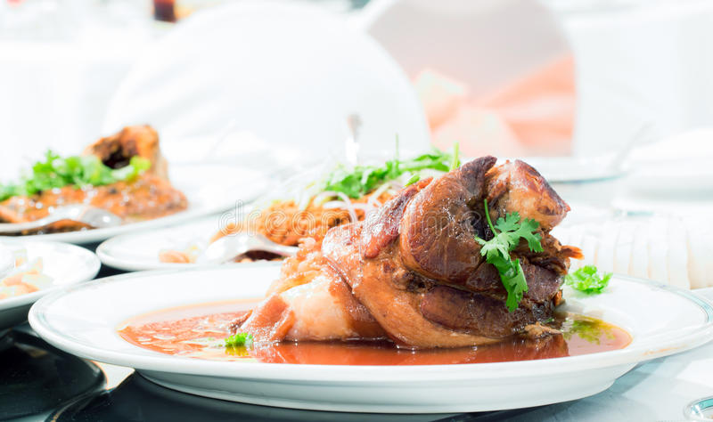 Pork knuckle stew. Gourmet Main Entree Course Chinese pork knuckle stew stock image