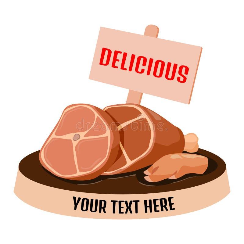 Pork leg with label. vector illustration