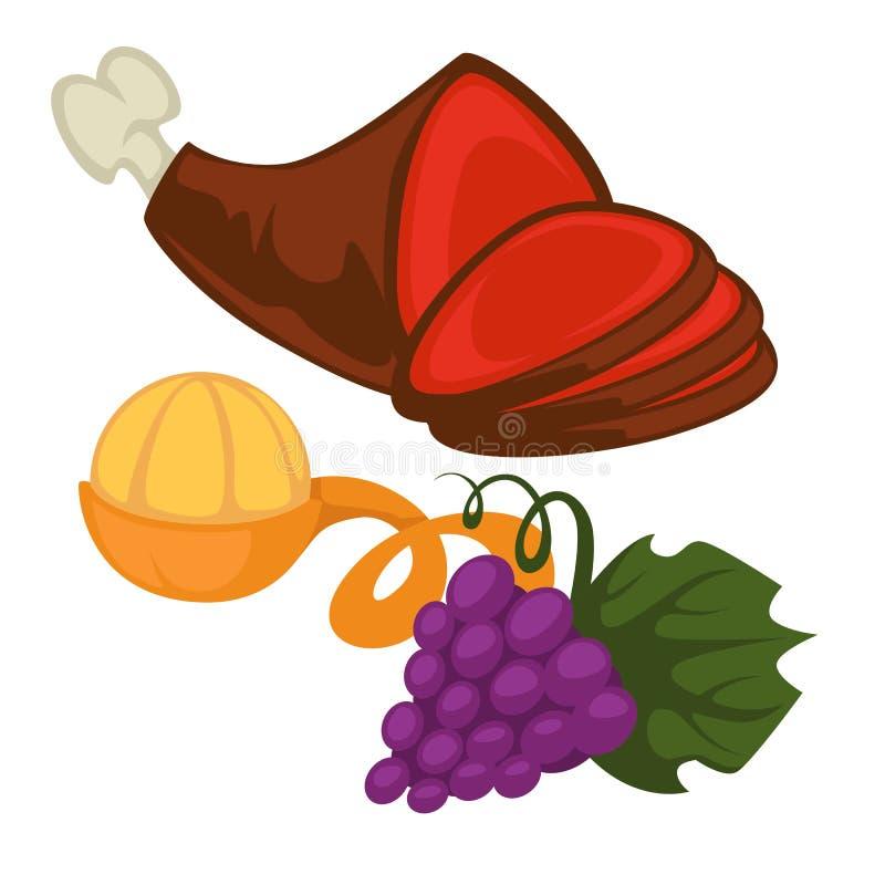 Pork leg mandarin or tangerine and grapes bunch food. Renaissance epoch food pork leg mandarin or tangerine and grapes bunch vector meat and fruit or berry royalty free illustration