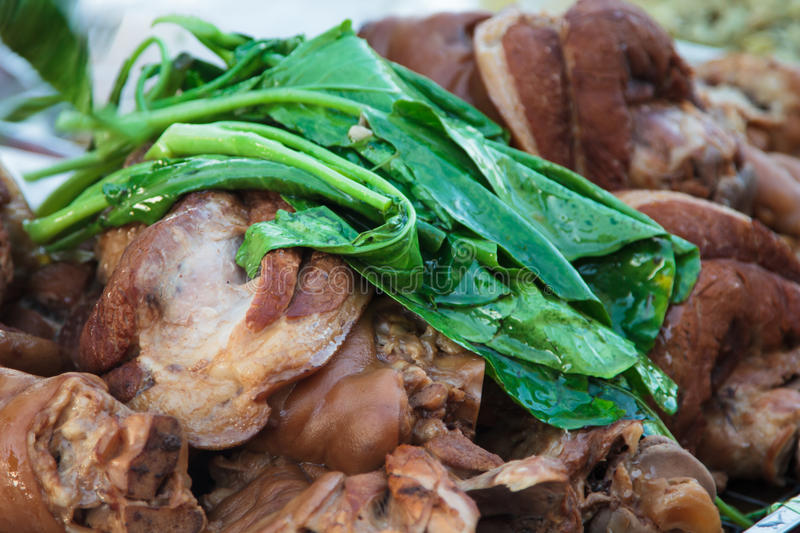 Pork leg stewed stock images