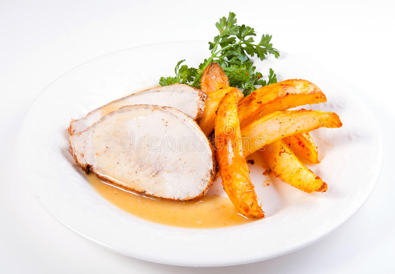 Download Pork loin plate stock image. Image of brown, loin, chop - 27322701