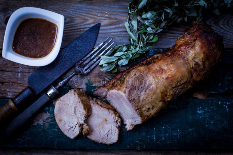 Pork loin with sauce stock photo