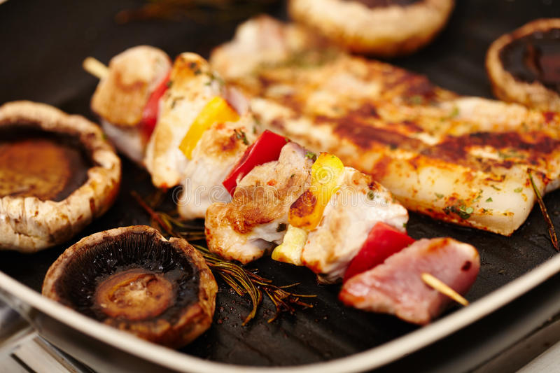 Download Pork Meat And Champignon Mushrooms In The Frying Pan Stock Image - Image: 36357753