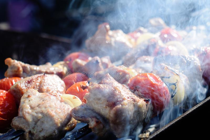 Pork meat with vegetables grilled in a smoke. Cooking in nature. stock image
