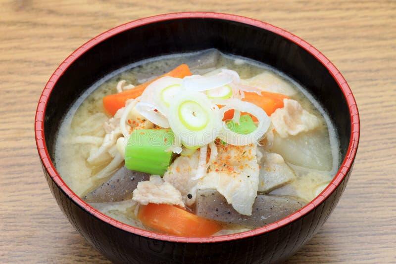 Pork miso soup stock photos