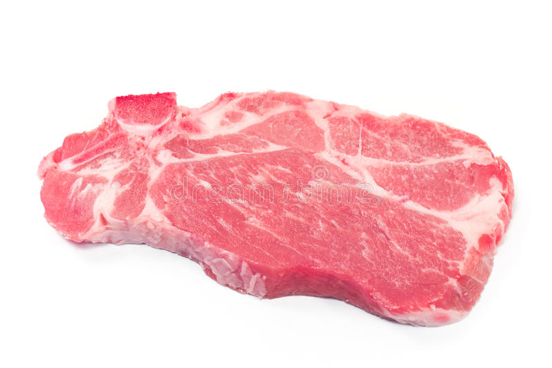 Pork neck chop meat. Isolated on white stock images