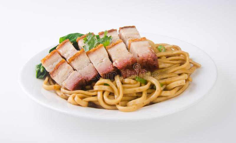 Pork noodle. BBQ pork noodle. Food malaysia royalty free stock images
