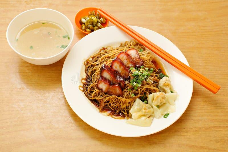 Pork noodle. BBQ pork noodle. Bowl stock photo
