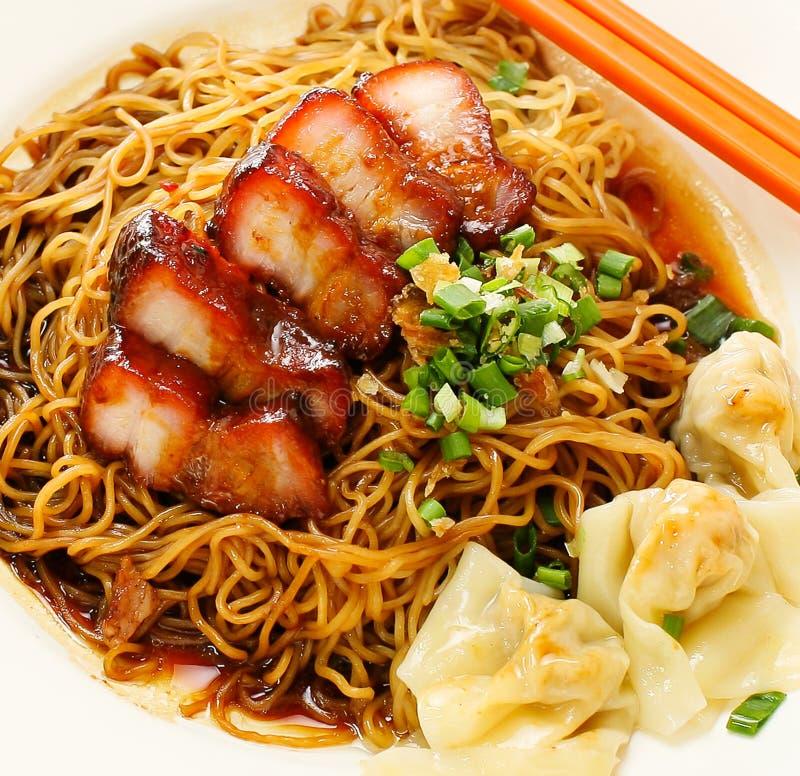 Pork noodle. BBQ pork noodle. Bowl royalty free stock photography