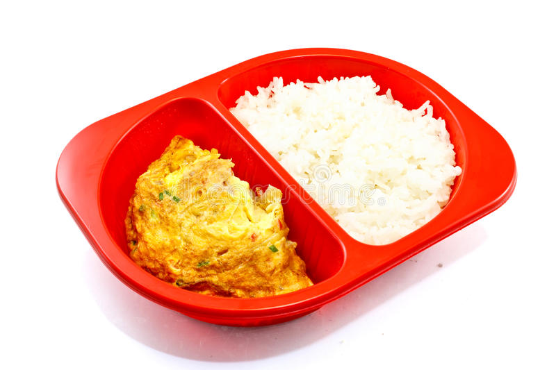 Pork omelette. With rice on white background stock photo