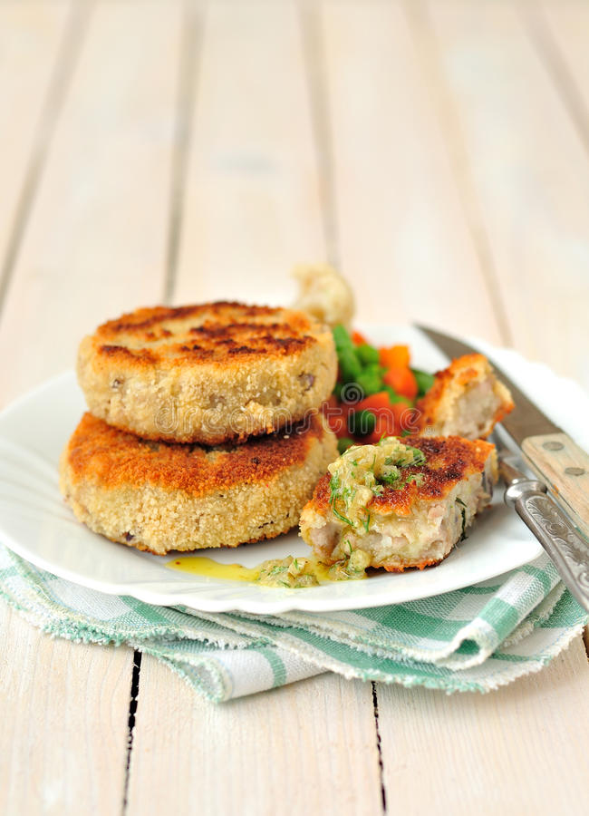 Pork Patties. With gherkin dressing; copyspace for your text stock image