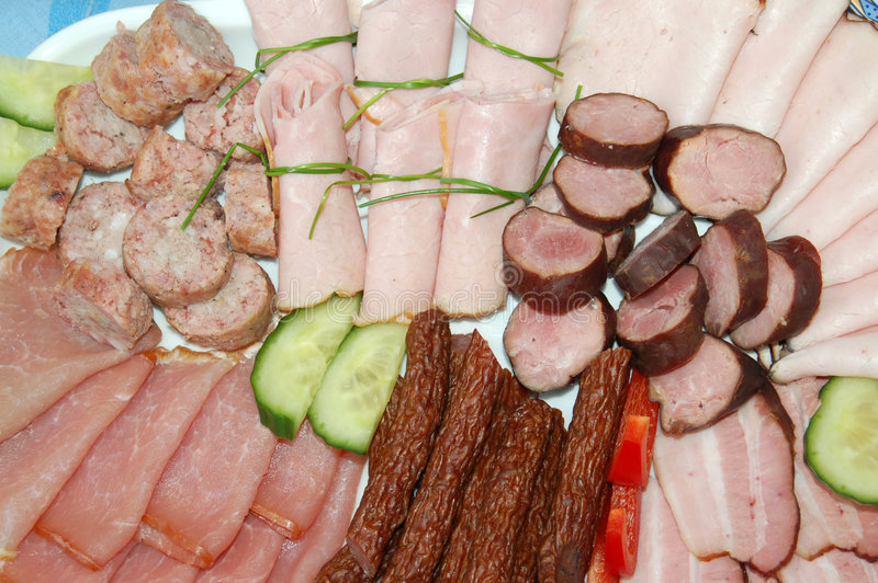 Pork products. Plate with assorted pork and sausage products royalty free stock images