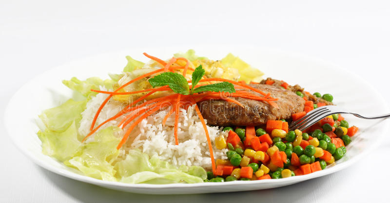 Pork and Rice royalty free stock image