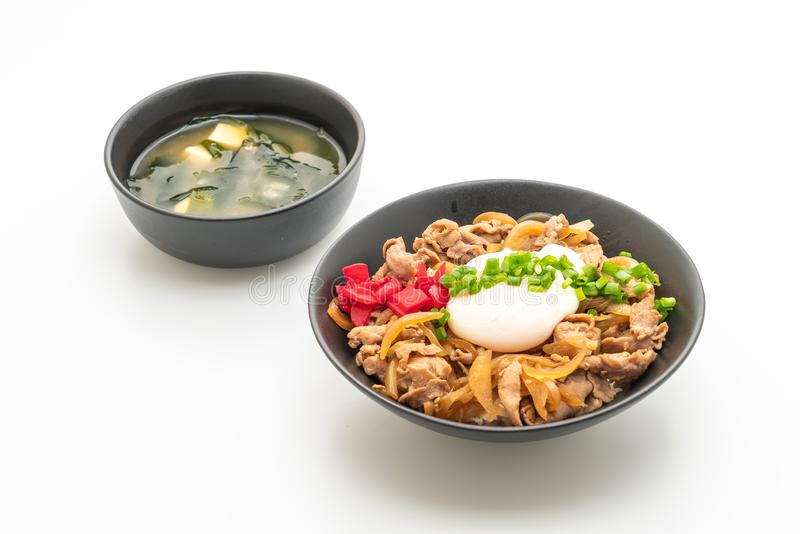 Pork rice bowl with egg (Donburi) - japanese food style. Pork rice bowl with egg (Donburi) isolated on white background - japanese food style stock images
