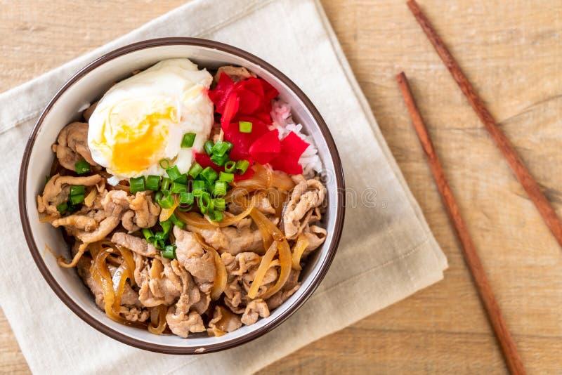 Pork rice bowl with egg (Donburi) - japanese food. Style royalty free stock photo