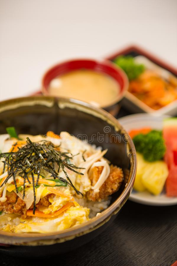 Pork rice bowl with egg Donburi stock photo