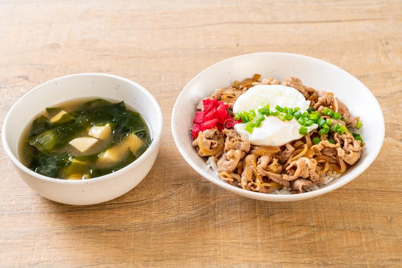 Pork rice bowl with egg (Donburi) - japanese food. Style royalty free stock photography