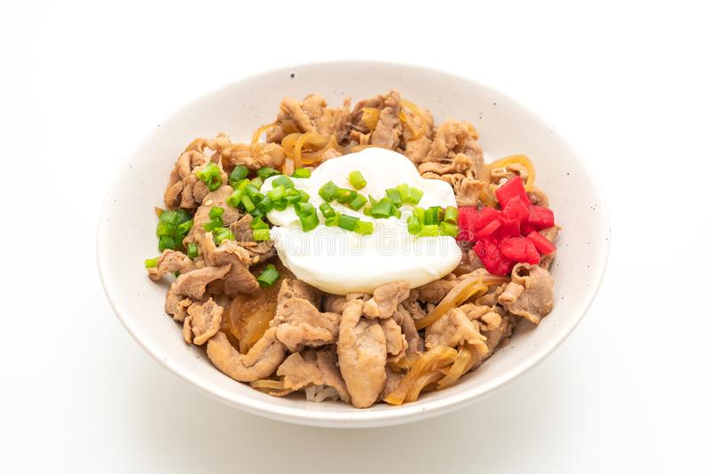 pork rice bowl with egg (Donburi) - japanese food style royalty free stock images