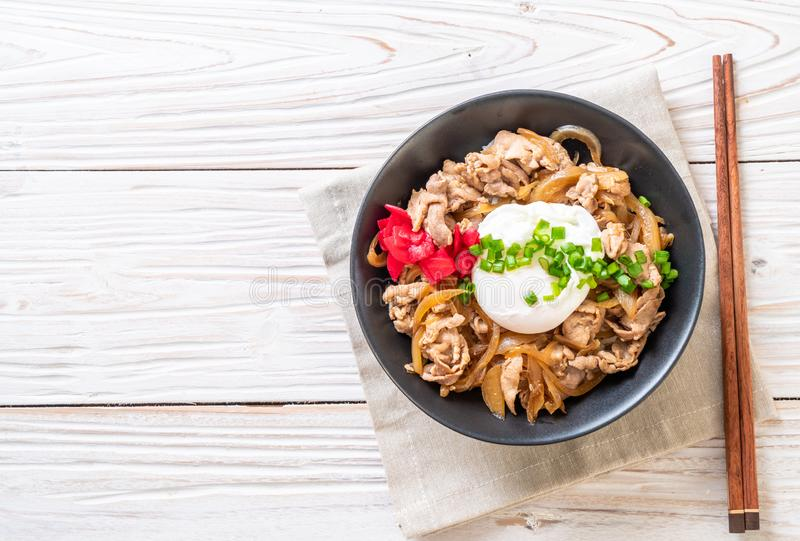 Pork rice bowl with egg (Donburi) - japanese food. Style stock images