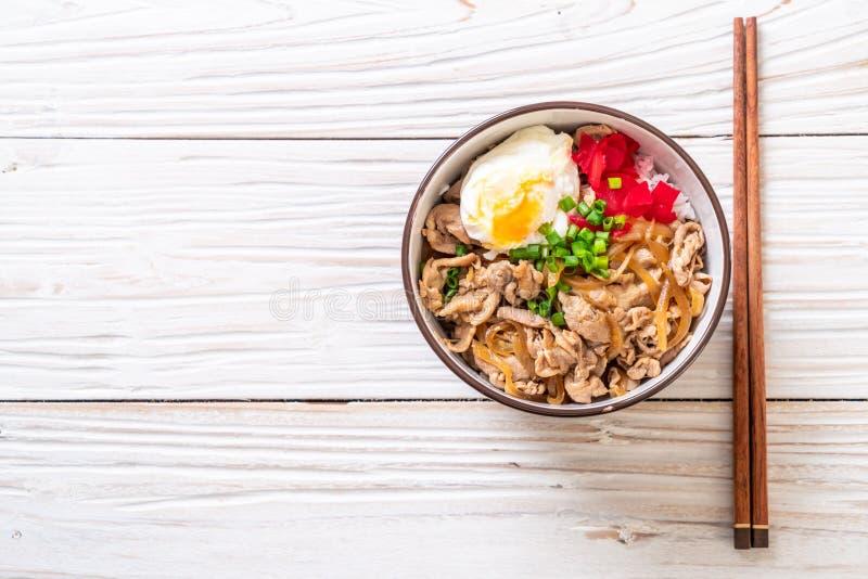 Pork rice bowl with egg (Donburi) - japanese food. Style stock image