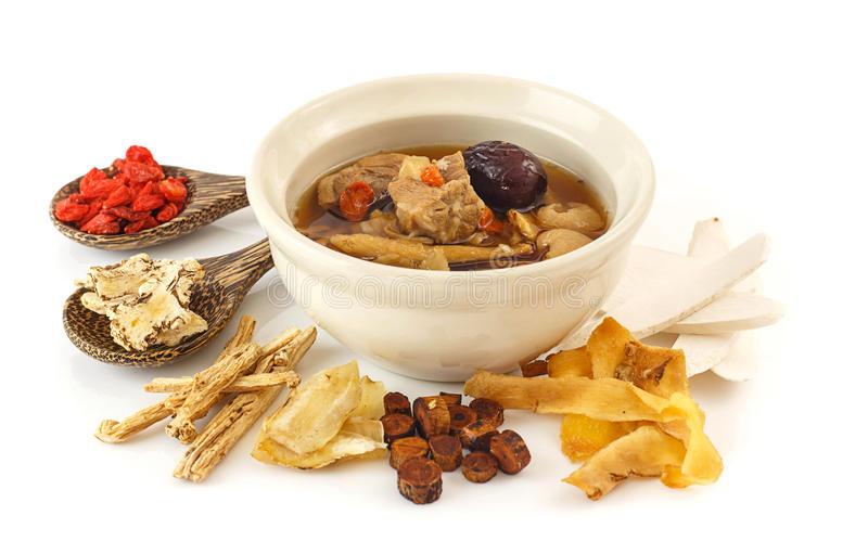 Pork rips clear soup with chinese herbs royalty free stock images
