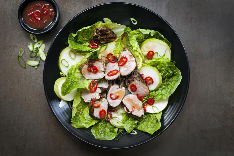 Pork Salad with Chili Pear and Cos Lettuce royalty free stock photos