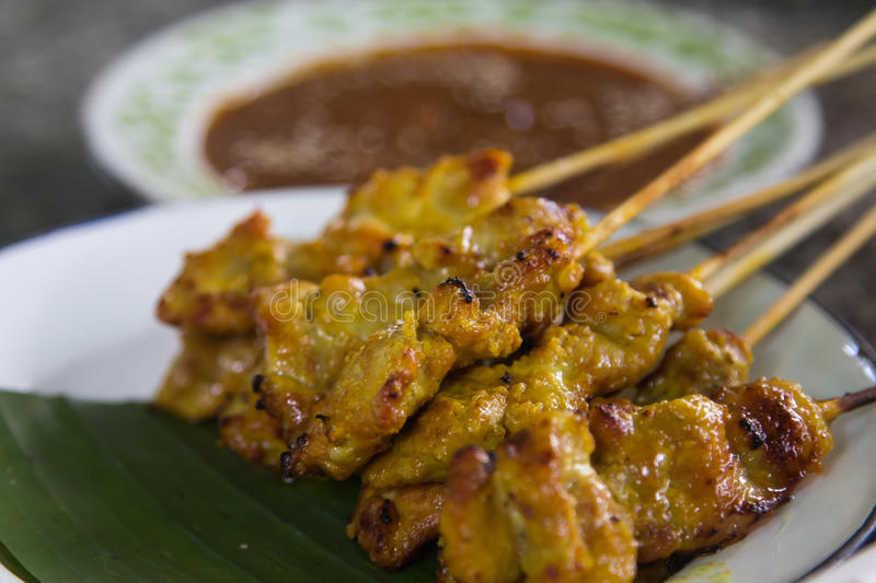 Download Pork satay stock image. Image of traditional, plate, barbecue - 34462557