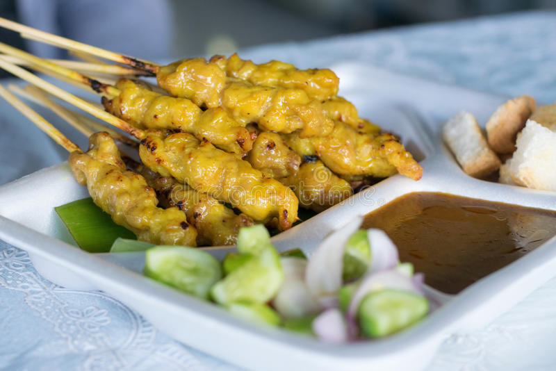 Pork Satay with Peanut Sauce royalty free stock images