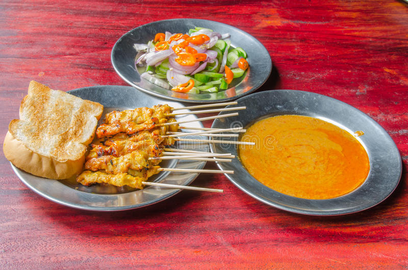 Pork satay with sauce stock photo