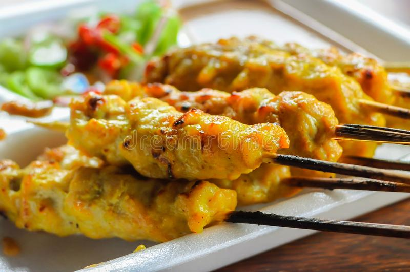 Cooking, Thailand, Pork, Satay, Sauce stock photos