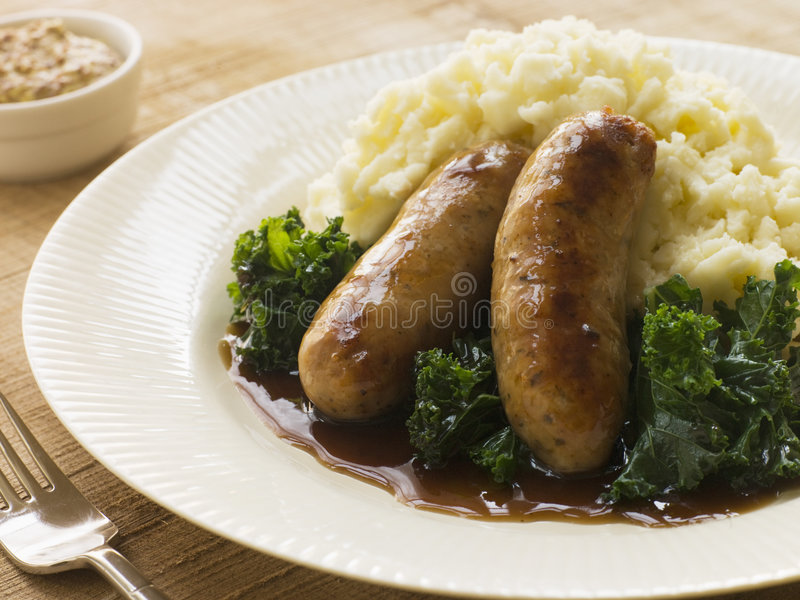 Download Pork Sausage And Mash With Curly Kale Stock Photo - Image: 5741264