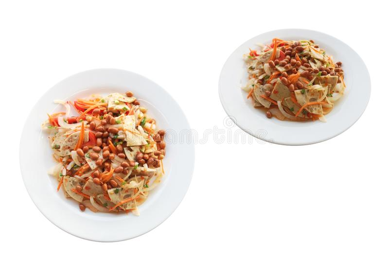 Pork sausage salad spicy thai food.Dressing consists of Chili, fish sauce, lemon juice, sugar and add vegetables as you like. stock images