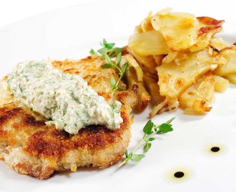 Download Pork Schnitzel stock image. Image of delicious, cooked - 9454373