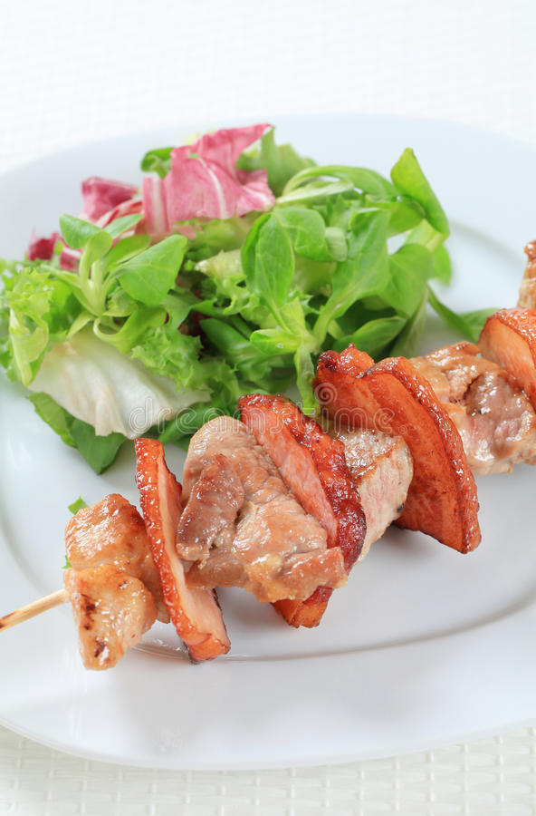 Download Pork Skewer With Salad Greens Stock Photo - Image: 25536726