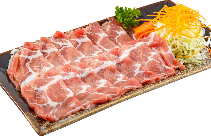 Pork sliced. Fresh Raw japanese kuro buta pork sliced on plate stock photography