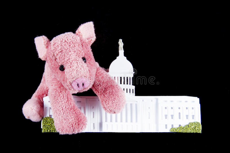 Pork Spending at US Capitol. Pink pig hugging replica of US Capitol building representing pork barrel spending in the Congressional budget royalty free stock image