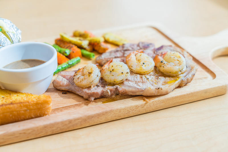 pork steak with shrimp stock photo