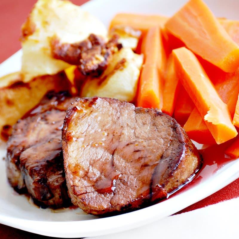 Pork tenderloin dinner royalty free stock photos
