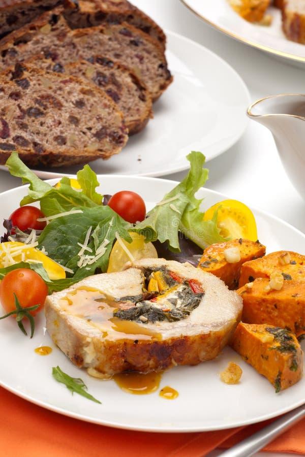 Free Pork Tenderloin Roulade And Salad Stock Photo - 16901020
