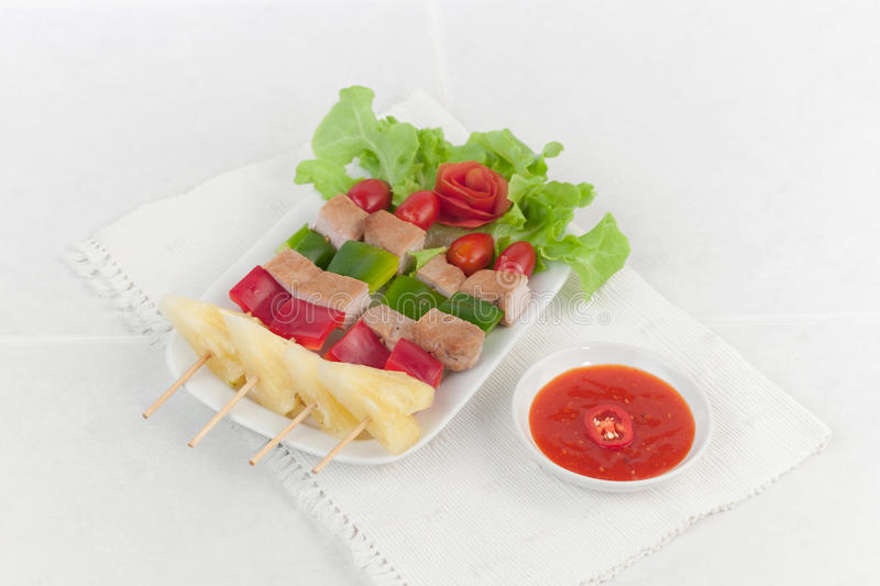 Download Pork And Vegetables On Barbecue Skewers Stock Image - Image: 28983081