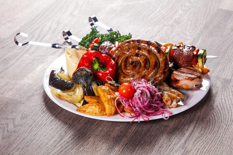 Pork and vegetables barbeque royalty free stock photos