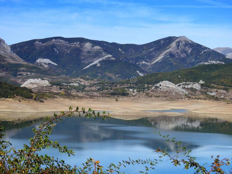 Porma Reservoir in summer, with little water royalty free stock image
