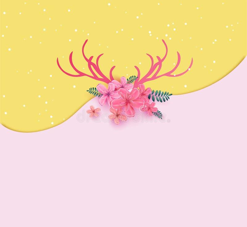 Poroże z czereśniowego okwitnięcia wiosny czasem rogaczy rogi dekorowali w ilustracja wektor