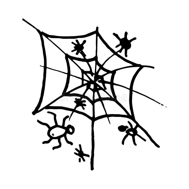 Porodô de aranha desenhada à mão Ícone Estilo do esboço Elemento de decoração Isolado sobre fundo branco Design plano Vetor ilustração stock