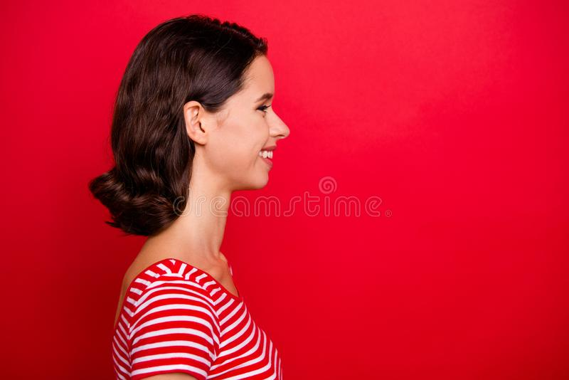 Porofile side view photo of cute nice pretty lovely lady cheerful teen teenager have fun free time weekend rest relax royalty free stock image