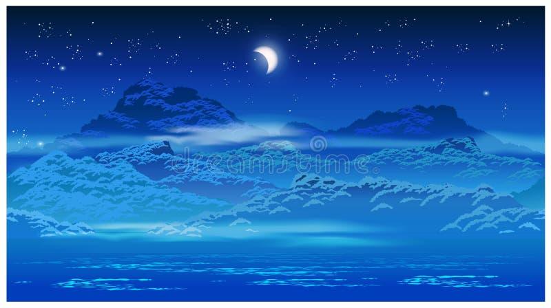 Porosły wybrzeże przy nocą ilustracja wektor