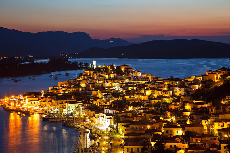 Download Poros at dusk stock photo. Image of greek, buildings - 10505394