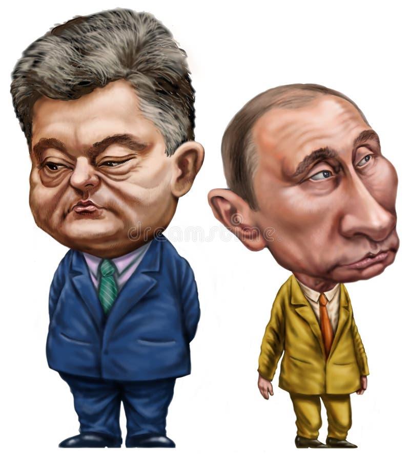 Poroshenko en Putin stock foto's