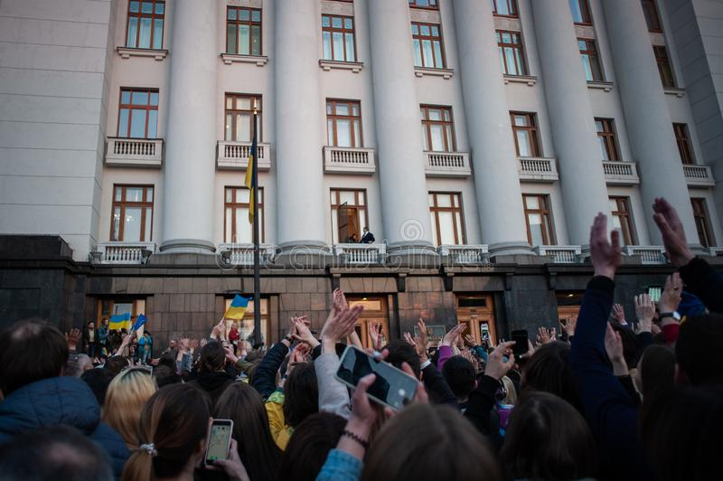 Poroshenko  thanked Ukrainians who came to thank him and support him stock photo