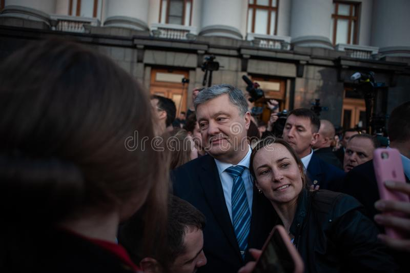 Poroshenko  thanked Ukrainians who came to thank him and support him royalty free stock images